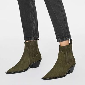 Anine Bing Harris Boot Olive Green Suede studded